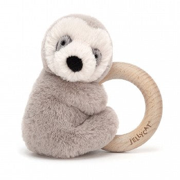 Jellycat Shooshu Sloth Wooden Ring Toy Rattle