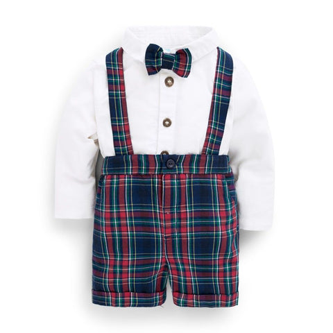 Jojo Maman Tartan Plaid Shorts 3 Piece Suspenders Set