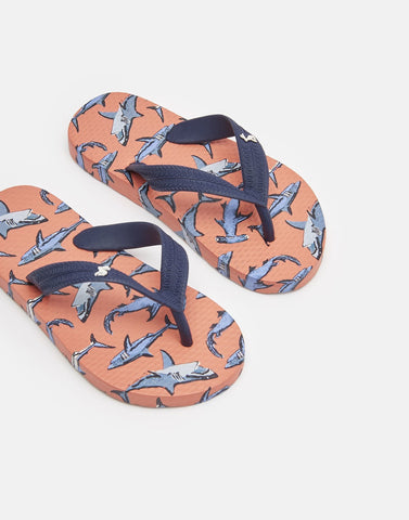 Joules Orange Sharks Flip Flops