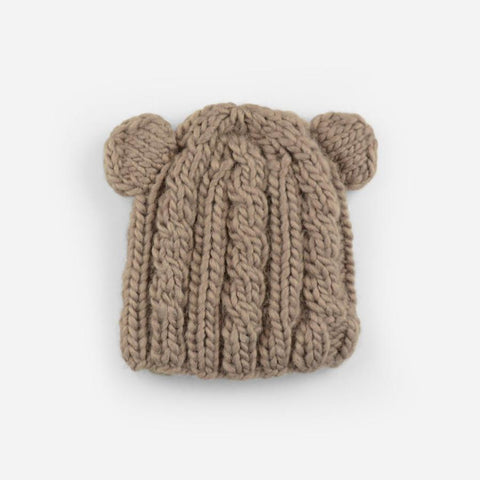 Blueberry Hill Hat Knitted Light Brown Bear