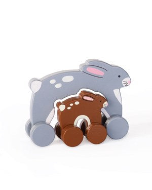 Mommy and Baby Push Toy Bunny
