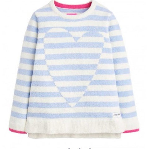 Joules Sweater Blue Stripe Fuzzy Heart