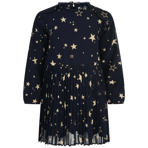 Mayoral Dress Navy Gold Stars