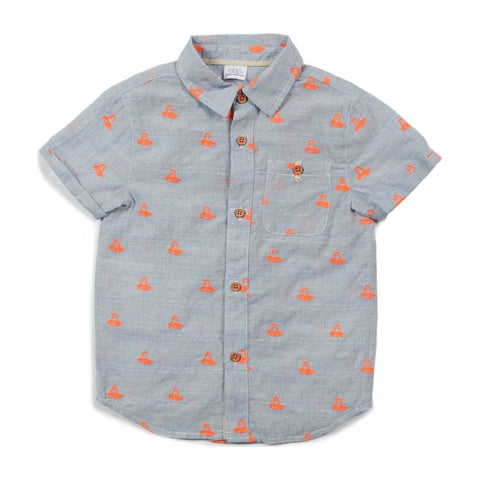 E.G.G. Adrian Shirt Blue Chambray Neon Orange Octopus