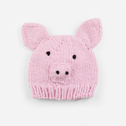 Blueberry Hill Knit Hat Pink Pig