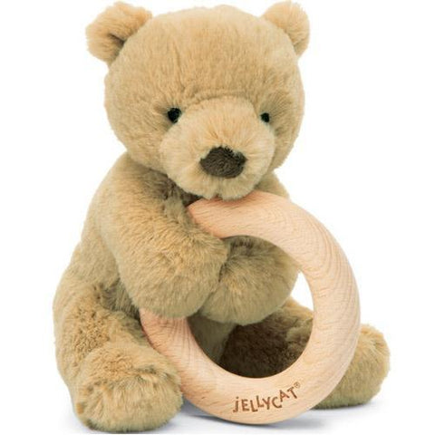 Jellycat Shooshu Bear Wooden Ring Rattle
