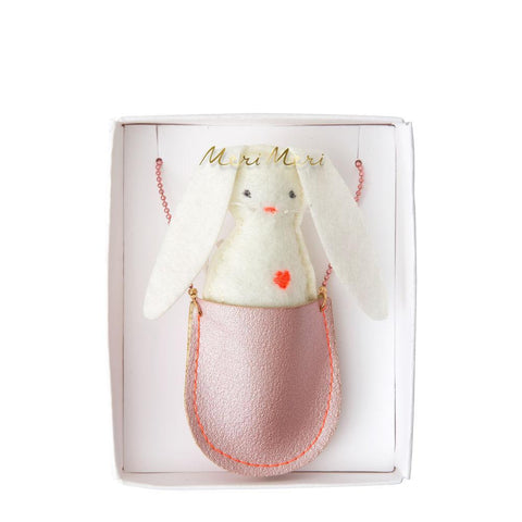 MeriMeri Big Pouch Necklace Pink Bunny