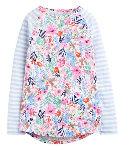 Joules LS Shirt Blue Stripe Multi Floral