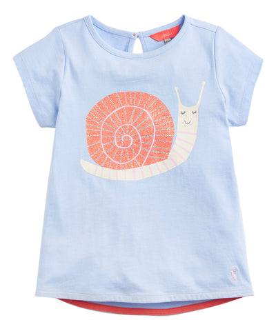 Joules Tee Shirt Light Blue Glitter Snail