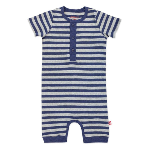 Zutano Romper Heather Blue Stripe Henley