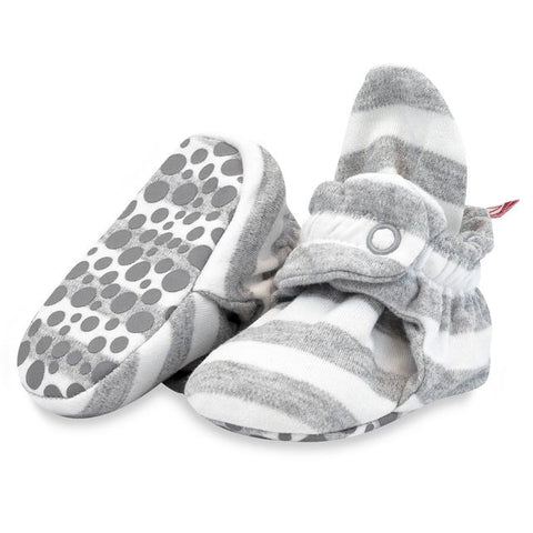 Zutano Booties Heather Grey White Stripe