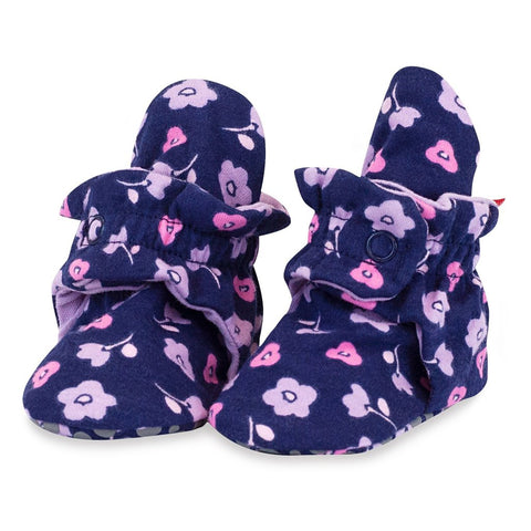 Zutano Booties Navy Lilac Floral Organic Cotton