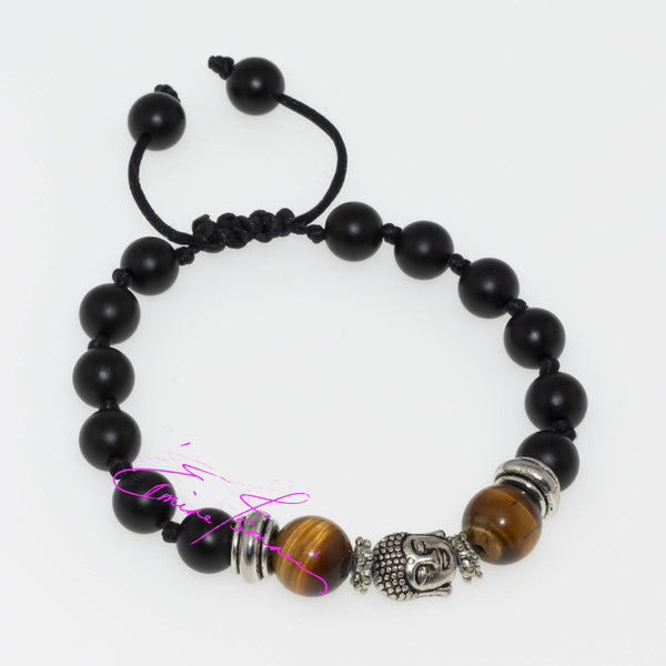 "Tigers Eye, with Onyx,  Buddha Peace & Balance, Meditation, Hand Knotted, 8 mm Beads, S 6.5""+ Adjustable - holistic-gemstone-jewelry"