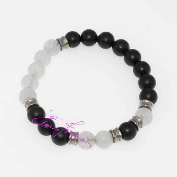 "Pure Quartz Crystal & Shungite Mala Bracelet Featuring Natures' Golden Ratio  Size Small 6.5"", 8mm Beads - holistic-gemstone-jewelry"