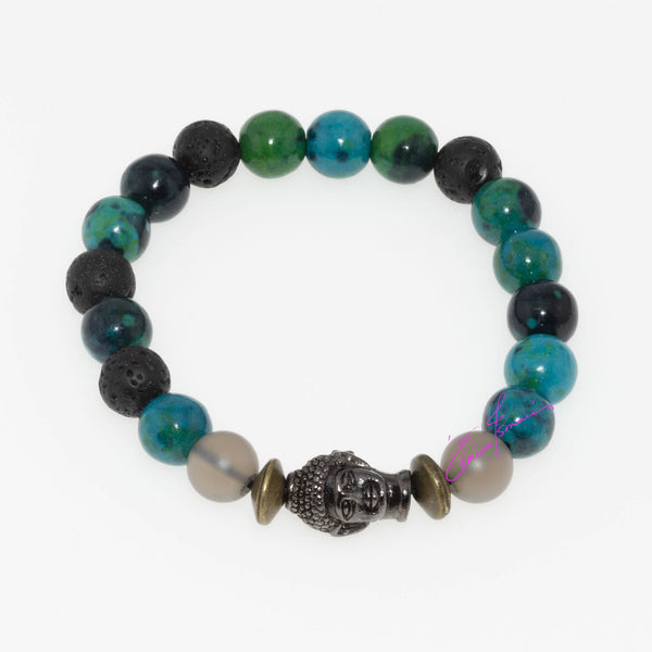 Chrysocolla, Smoky Quartz, Lava Stone with Budhha; Synergy Mala Bracelet Featuring Natures' Golden Ratio in 8mm Beads - holistic-gemstone-jewelry