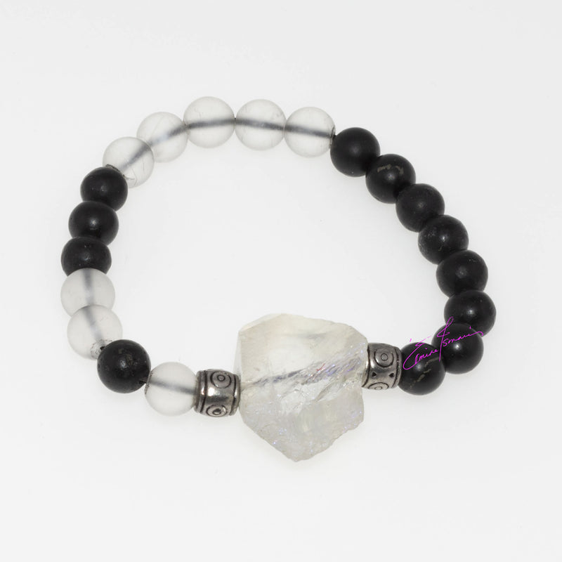 Clear Quartz Crystal and Shungite with a Rainbow Angel Light Quartz Crystal, Mala Bracelet, Featuring Natures' Golden Ratio  8mm Beads - holistic-gemstone-jewelry
