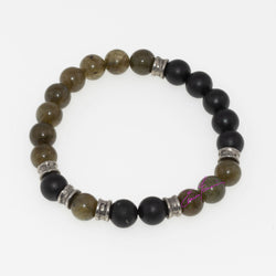"Labradorite and Shungite Mala Bracelet, Featuring Natures' Golden Ratio. 8 mm Beads, 7"" sm/med - holistic-gemstone-jewelry"