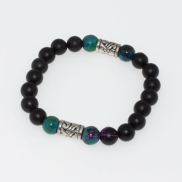 "The Synergy of Chrysocolla and Onyx All About New Beginnings and Letting Go. Mala Bracelet s/m 7"" - holistic-gemstone-jewelry"