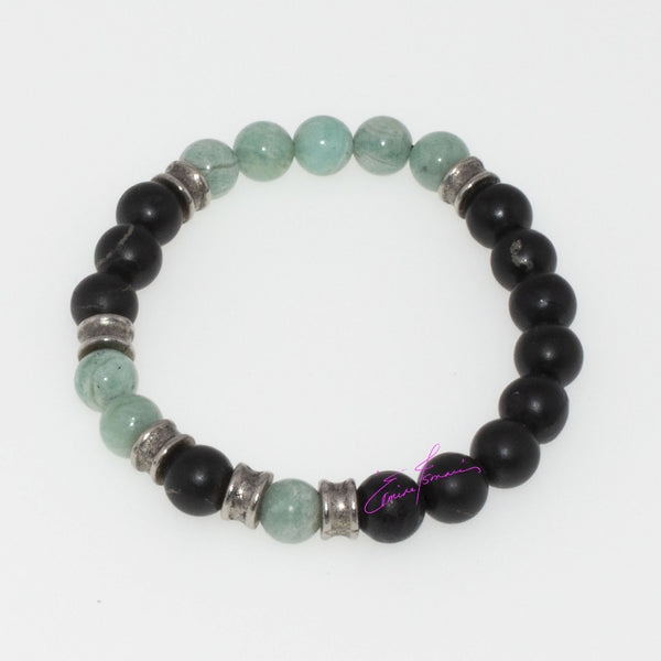 Amazonite & Shungite, Mala Bracelet Featuring Natures' Golden Ratio