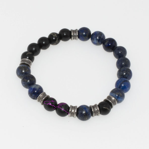 "Lapis Lazuli, Shungite Mala Bracelet. Featuring Natures' Golden Ratio  Size Small 6"" 8mm Beads - holistic-gemstone-jewelry"