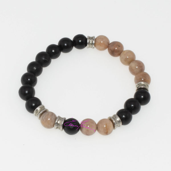 PEACH MOONSTONE & SHUNGITE MALA STRETCH BRACELET