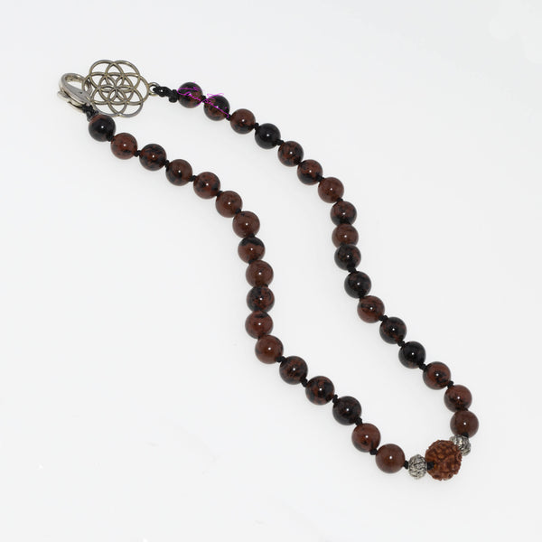 "Mohagony Obsidian, Rudraksha Centerpiece Hand Knotted 16"" Mala Necklace with Flower of Life/Dolphin Closure. 8mm Beads - holistic-gemstone-jewelry"