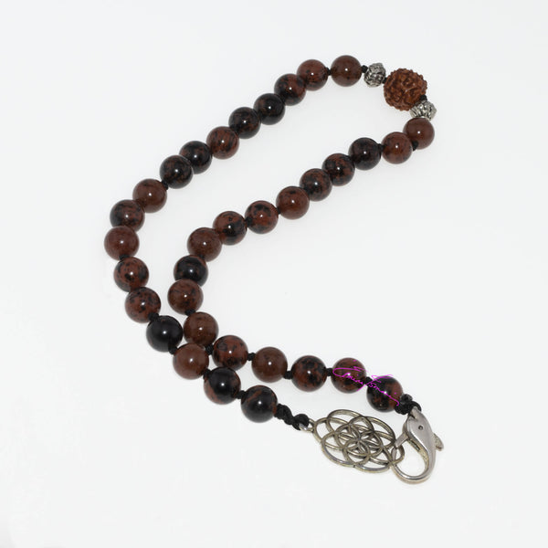 "Mohagony Obsidian, Rudraksha Centerpiece Hand Knotted 16"" Mala Necklace with Flower of Life/Dolphin Closure. 8mm Beads - holistic-gemstone-jewelry-2"