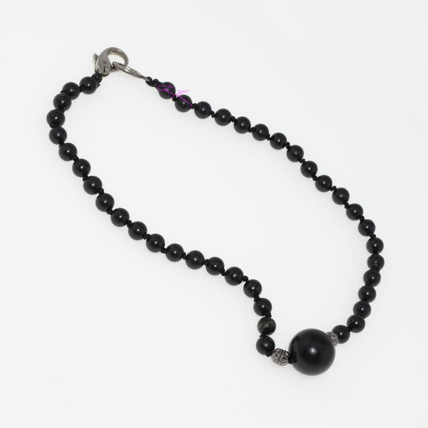 "Pure Natural Shungite Mala Necklace/Choker 15.5"", Shungite Sphere Centerpiece with 7 mm Beads, Hand knotted"