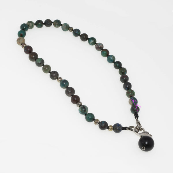 Chrysocolla with Shungite Sphere Mala Necklace, Featuring Nature's Golden Ratio,  Hand Knotted