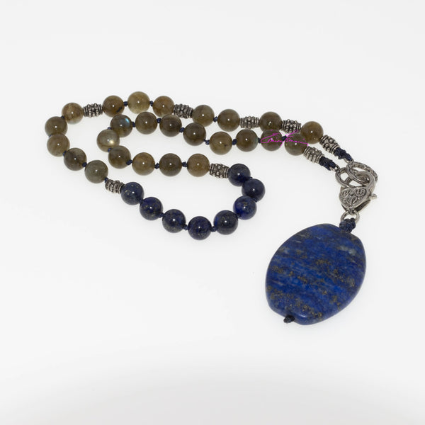"Labradorite and Lapis Lazuli Mala Necklace/Choker 16"" with Lapis Pendant 1.5""x1"". Featuring Natures' Golden Ratio Hand Knotted - holistic-gemstone-jewelry"