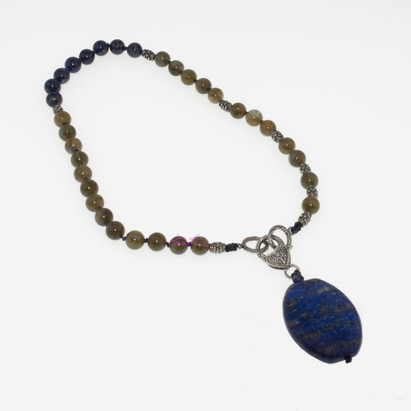 "Labradorite and Lapis Lazuli Mala Necklace/Choker 16"" with Lapis Pendant 1.5""x1"". Featuring Natures' Golden Ratio Hand Knotted - holistic-gemstone-jewelry-2"