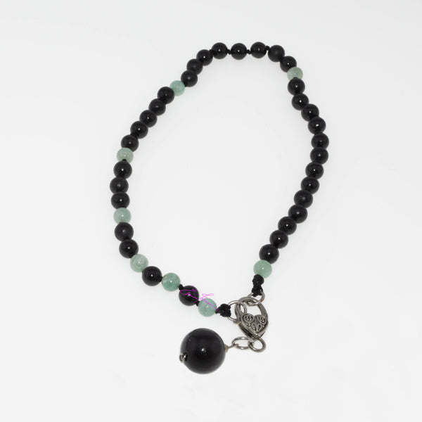 Amazonite and Shungite Mala Necklace-2