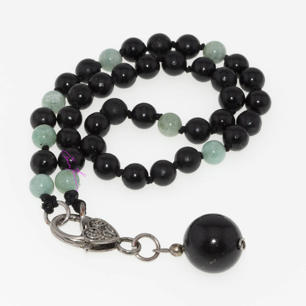 Amazonite and Shungite Mala Necklace