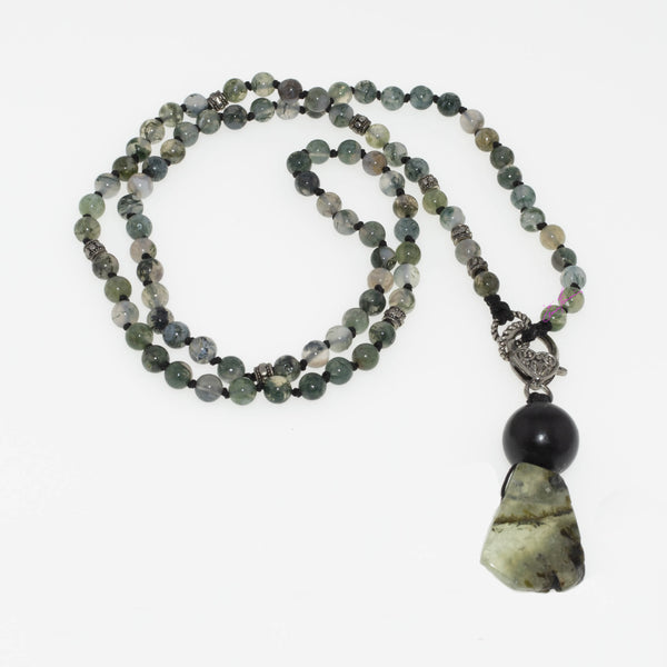 Moss Agate Mala Necklace with Shungite Sphere and Prehnite Pendant, Nature's Golden Ratio Sequence, 6mm Beads - holistic-gemstone-jewelry