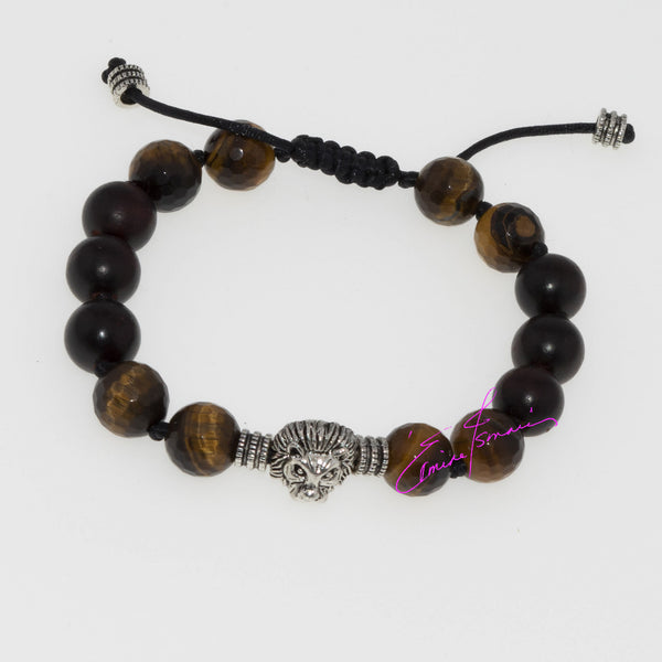 Rosewood Tibetan Prayer Beads, Focused Tigers Eye with The Snow Lion, Hand Knotted - holistic-gemstone-jewelry