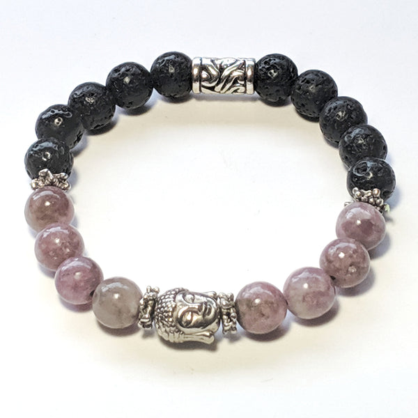 "Lepidolite and Lava Stone Budhha Aromatherapy, Mala Bracelet, 8mm Beads Sm/med 7"" - holistic-gemstone-jewelry"