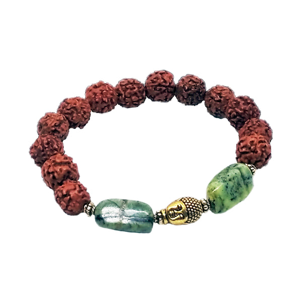 "Jade, Rudraksha Golden Buddha Mala Stretch Bracelet, M 7"" - holistic-gemstone-jewelry"