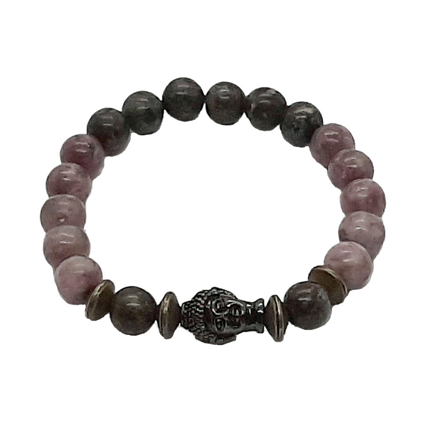 "Lilac Lepidolite, Jasper's Dragon Blood Stone with Budhha, Mala Bracelet, 8 mm Beads,  sm/m 6.5/7"" - holistic-gemstone-jewelry"