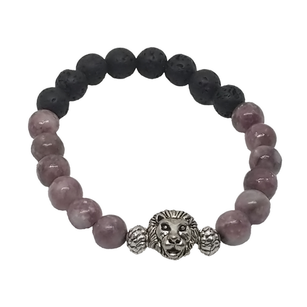 Snow Lion Mala Aromatherapy Bracelet of Lepidolite Mica Mineral Crystal, and Lava Stone 8 MM Beads - holistic-gemstone-jewelry