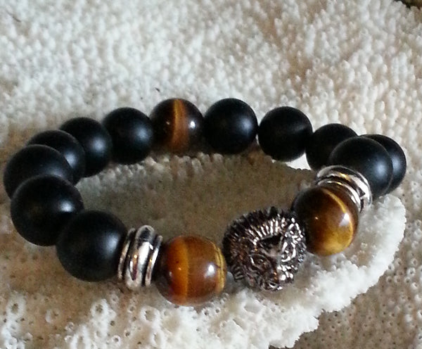 Tibetan Snow Lion Liberty Mala Bracelet, Tigers Eye and Onyx  Beads - holistic-gemstone-jewelry