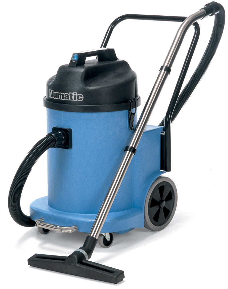 large blue commercial vacuum cleaner
