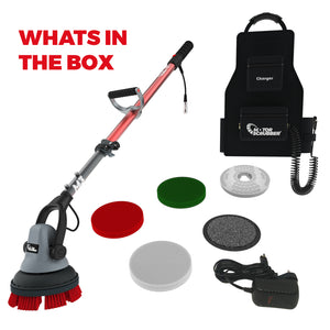 "MotorScrubber M3 8"" Battery Scrubbing Cleaning Machine - with long handle"