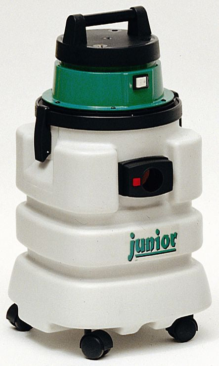 a front view of the white and green vacuum cleaner