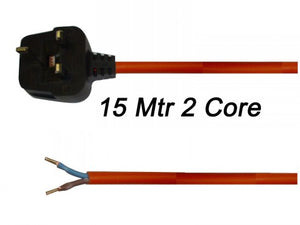 1.5mm 2 Core 15 Metre Orange Cable - FLX67