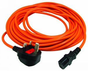 1.0mm 12 Metre 2 Core Orange Cable with Straight IEC Plug - FLX91