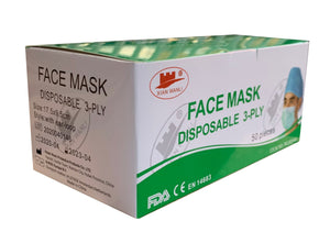 Box of 50 - Type IIR 3-Ply Medical Face Mask with fluid protection - CE marked - EN14683