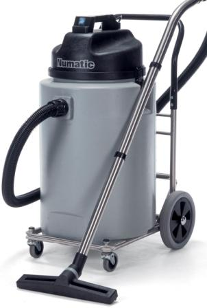 a front view of the grey vacuum cleaner