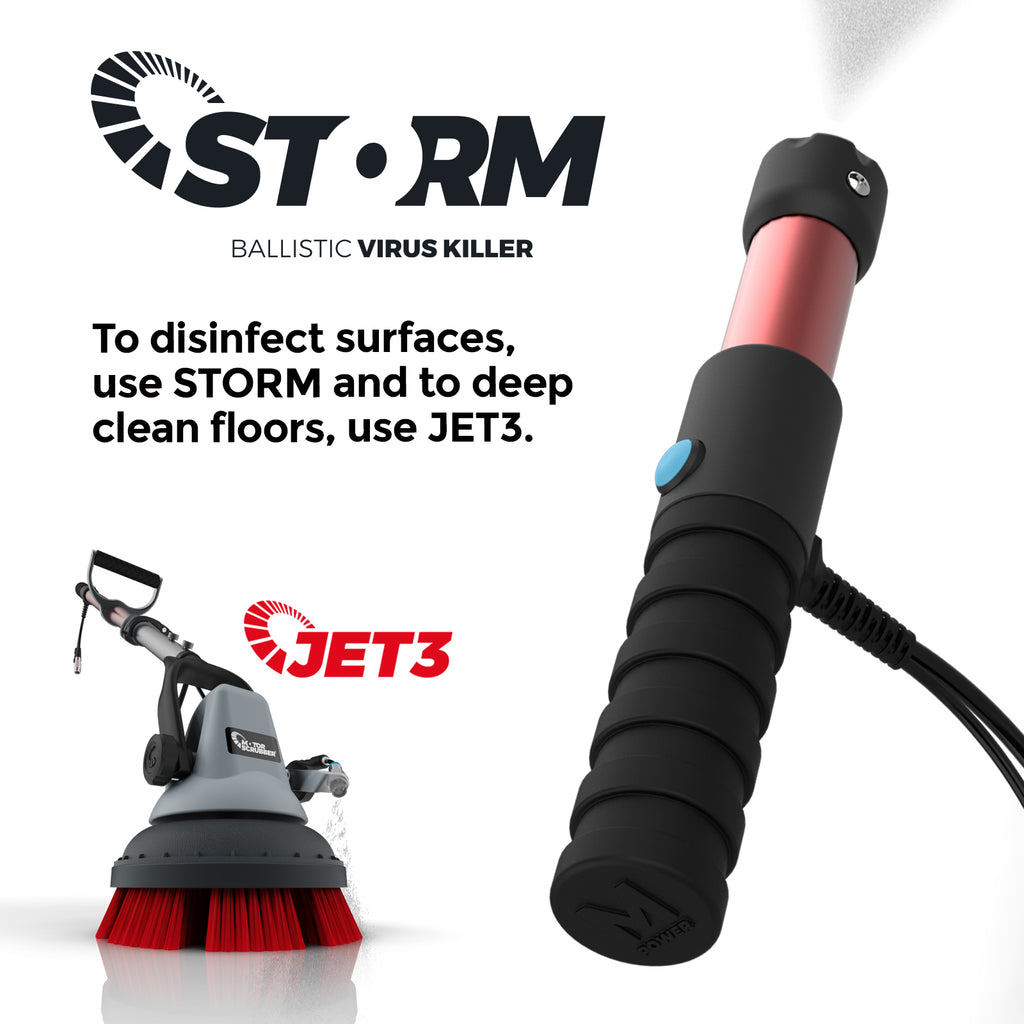 Motorscrubber Storm - Battery Sanitising Sprayer & Jet scrubbing machine