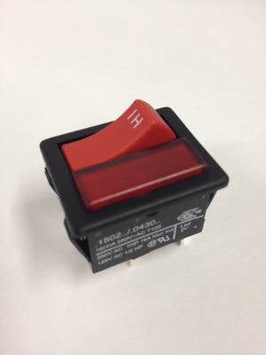 221102 RED MOMENTARY ROCKER SWITCH (BLACK BODY / RED ILLUMINATION)