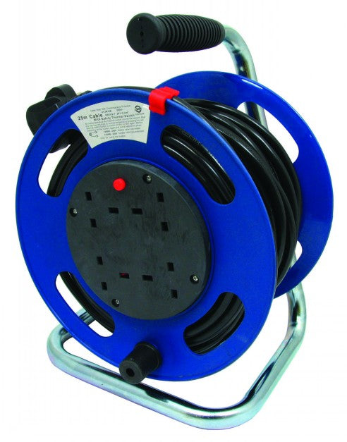 25 Metre Extension Lead on Reel with 4 Sockets - FLX92